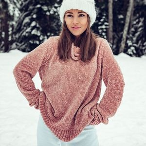 Karen Kane Chenille pink turtleneck sweater